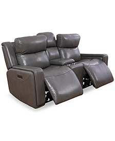 Saran 3-Pc. Leather Sectional Sofa with 2 Power Recliners, Console & USB Port