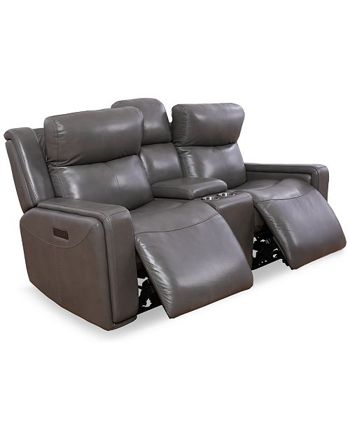 Furniture Saran 3-Pc. Leather Sectional Sofa with 2 Power Recliners, Console & USB Port