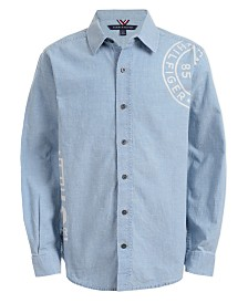 Tommy Hilfiger Big Boys Tony Logo-Print Chambray Shirt
