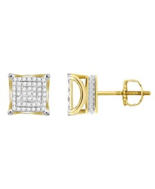 Men's Diamond (1/4 ct.t.w.) Square Earring Set in 10k Yellow Gold