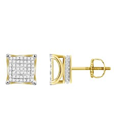 Diamond (1/4 ct.t.w.) Square Earring Set in 10k Yellow Gold