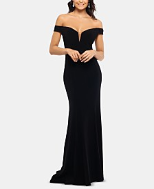XSCAPE Off-The-Shoulder Gown