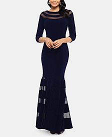 Petite Illusion-Trim Gown