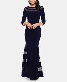 XSCAPE Petite Illusion-Trim Gown