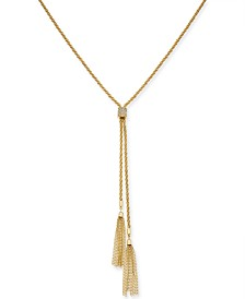 "Thalia Sodi Gold-Tone Pavé & Chain Tassel Lariat Necklace, 31"" + 3"" extender, Created for Macy's"
