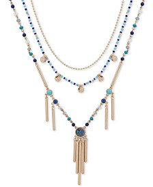 "lonna & lilly Gold-Tone Blue Beaded Three-Row Long Necklace, 30"" + 3"" extender"