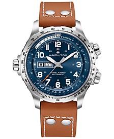 Men's Swiss Khaki X-Wind Brown Leather Strap Watch 45mm