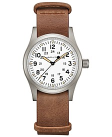 Men's Swiss Mechanical Khaki Field Brown Leather Strap Watch 38mm