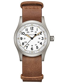 Hamilton Men's Swiss Mechanical Khaki Field Brown Leather Strap Watch 38mm