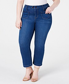 Trendy Plus Size Patch-Pocket Bootcut Jeans