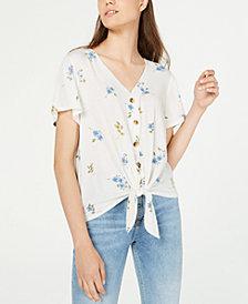Hippie Rose Juniors' Button-Front Tie Top