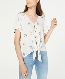 Hippie Rose Juniors' Button-Front Tie Top