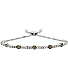 Vanilla Diamond® and Chocolate Diamond® Bolo Bracelet (1-1/6 ct. t.w.) in 14k White Gold