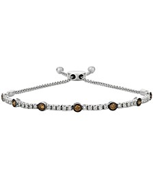 Le Vian® Vanilla Diamond® and Chocolate Diamond® Bolo Bracelet (1-1/6 ct. t.w.) in 14k White Gold