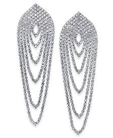 I.N.C. Silver-Tone Rhinestone Chain Linear Drop Earrings, Created for Macy's