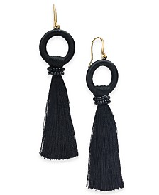 I.N.C. Gold-Tone Bead & Thread-Wrapped Circle Tassel Drop Earrings, Created for Macy's