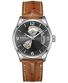 Men's Swiss Automatic Jazzmaster Brown Leather Strap Watch 42mm