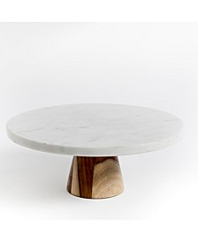 Laurie Gates Marble and Wood  Cake Stand