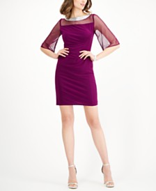 R & M Richards Embellished Illusion Sheath Dress