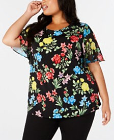 Calvin Klein Plus Size Floral-Print Chiffon-Sleeve Top