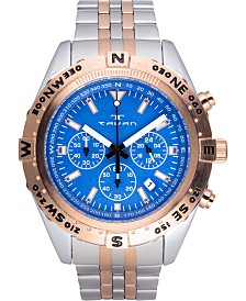 Tavan Between Wind & Water Men's Chronograph Watch Silver and Rose Gold Bracelet, Blue Dial, Rose Gold Bezel, 48mm