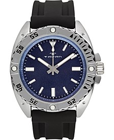 Anchor Sentinel Men's Watch Black Silicone Strap, Silver Case, Blue Dial, 47mm