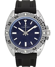 Tavan Anchor Sentinel Men's Watch Black Silicone Strap, Silver Case, Blue Dial, 47mm