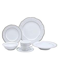 24 Piece Wavy Fine China Silver Dot Dinnerware