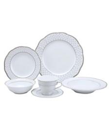 Lorren Home Trends 24 Piece Wavy Fine China Silver Dot Dinnerware