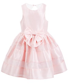 Pink & Violet Little Girls Bow-Front Dress