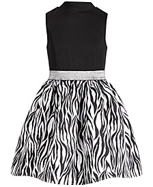 Big Girls Mock-Neck Zebra-Print Dress