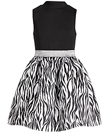 Pink & Violet Big Girls Mock-Neck Zebra-Print Dress