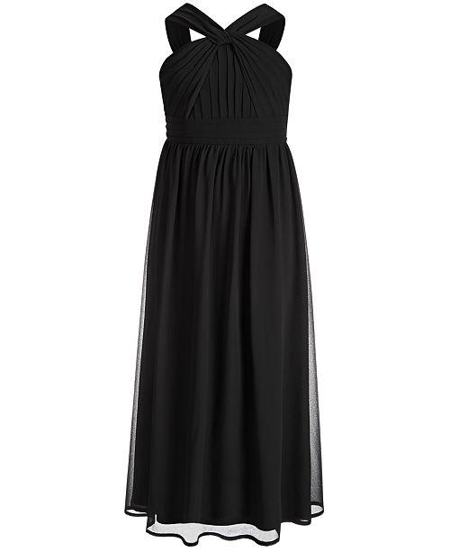 Sequin Hearts Big Girls Pleated-Bodice Maxi Dress