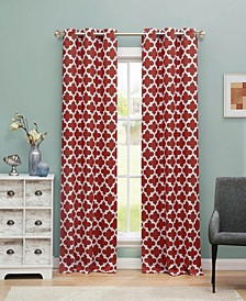 "Kyra 38"" x 84"" Trellis Print Blackout Curtain Set"