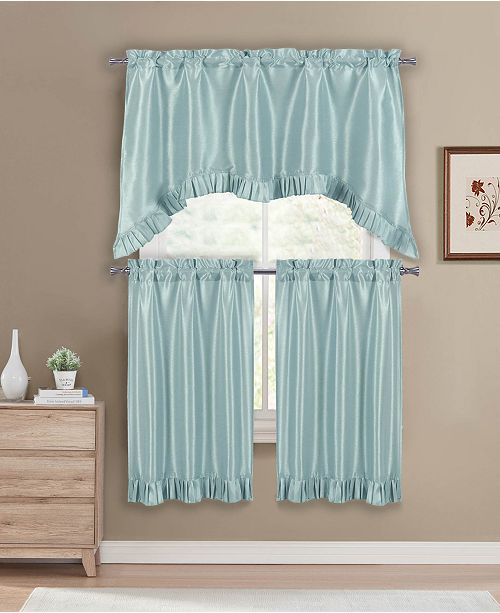 Bella 3 Piece Kitchen Curtain Set