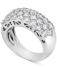 Diamond Three-Row Anniversary Band (2 ct. t.w.) in 14k White Gold or 14k Gold