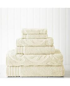 6 Piece Jacquard/Solid Towel Set-Medallion Swirl