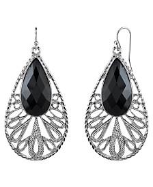 2028 Silver-Tone Black Teardrop Earrings