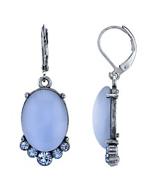 2028 Pewter Tone Lt. Blue Moonstone and Crystal Accent Oval Drop Earrings