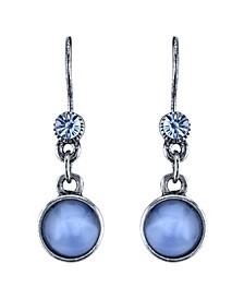 Pewter Tone Lt. Blue Moonstone Drop Earrings