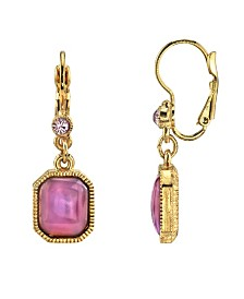 2028 Gold Tone Square Amethyst Color Drop Earrings