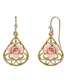 Gold-Tone Pink Porcelain Rose Filigree Pear Shaped Drop Earrings