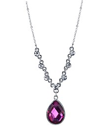 "2028 Silver-Tone Amethyst Purple Color Teardrop Pendant Necklace 16"" Adjustable"