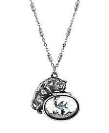 """Pewter Cat with Blue Enamel Fish in Glass Fishbowl Necklace 30"""""""