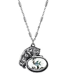 2028 Pewter Cat with Blue Enamel Fish in Glass Fishbowl Necklace 30""