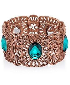 Burnished Copper-Tone Blue Zircon Wide Filigree Stretch Bracelet