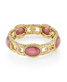 Gold Tone Pink Moonstone Stretch Bracelet