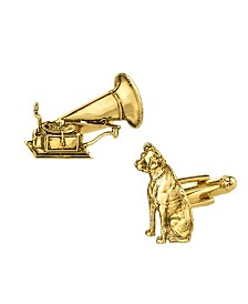 1928 Jewelry 14K Gold Plated Dog and Phonograph Cufflinks