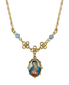 "Symbols Of Faith Gold-Tone Light Blue Small Oval Mary Pendant Necklace 16"" Adjustable"