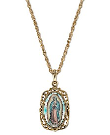 Symbols of Faith 14K Gold-Dipped Enamel Lady of Guadalupe Medallion Necklace 24""